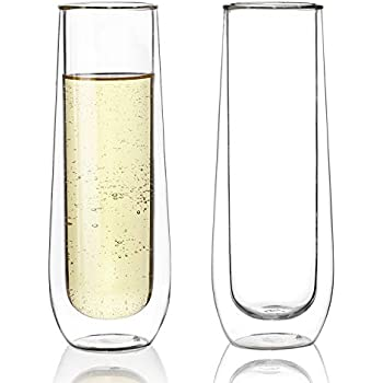 Sweese 4614 Stemless Champagne Flute Glasses Set Of 2 6 Oz Double Walled Stemless Glass