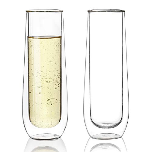 Sweese 4614 Stemless Champagne Flute Glasses Set of 2 - 6 oz Double Walled Stemless Glass Flute, Perfect for a Bridal Shower, Wedding Day, Mimosa Party - Flute Champagne Wine Glass