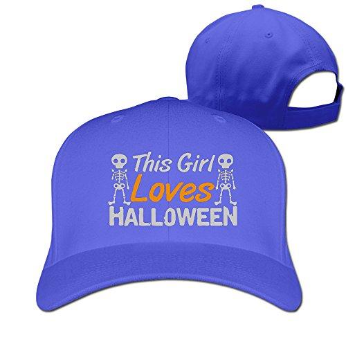 Runy Custom This Girl Loves Halloween Adjustable Hunting Peak Hat & Cap RoyalBlue