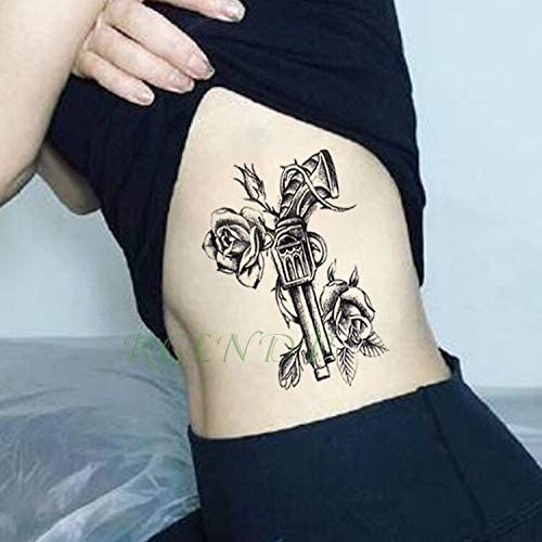 Yyoutop Impermeable e Tatuaje Pegatina Pistola Rosa Flor Tatto ...