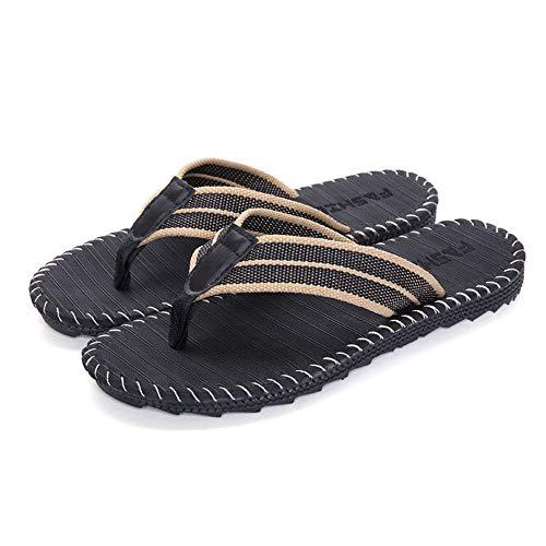 Plage Chaussure Décorée Homme Parfait De Tong Antidérapant L'été Inflation Lin Sandale Noir Pantoufles Pour Bande AnHtaq