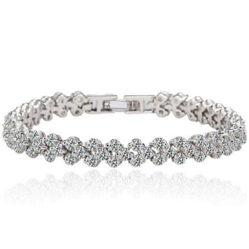 EVER-FAITH-Wedding-Full-Round-Pave-Clear-CZ-Roman-Tennis-Bracelet-Silver-Tone
