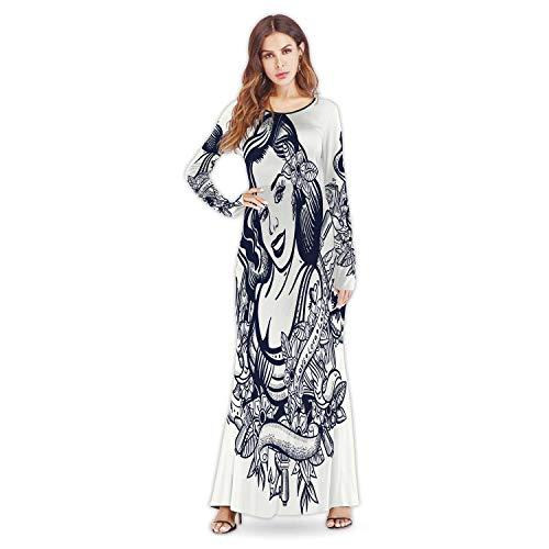 C COABALLA Ikat Ethnic PatternBlack WhiteWomen's Long Sleeve Empire Waist Pleated Loose Dress,a39529for Wedding,M
