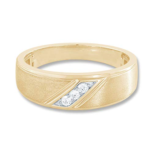 10K Yellow Gold 1/10 cttw Diamond (IJ Colour I3 Clarity) Pre-engagement Mens Ring