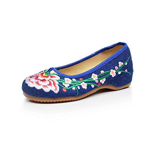 stile dell'aumento Scarpe donna a ricamate da comodo xiuhuaxie casual all'interno denim tendina moda GuiXinWeiHeng blue scarpe suola etnico ZwqYxH