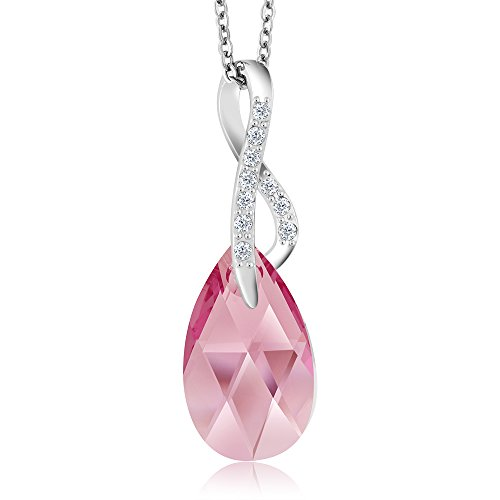 Nirano Collection Infinity Pink Ribbon Spring Rose Pendant Created with Swarovski - National When Pink Is Day