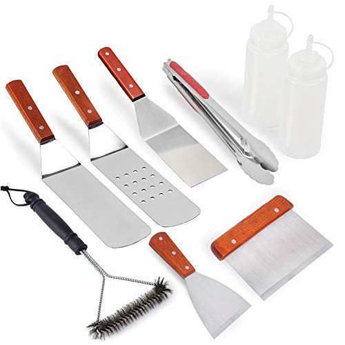 QUIENKITCH Griddle Spatula and Scraper Set, 9-Piece Professi