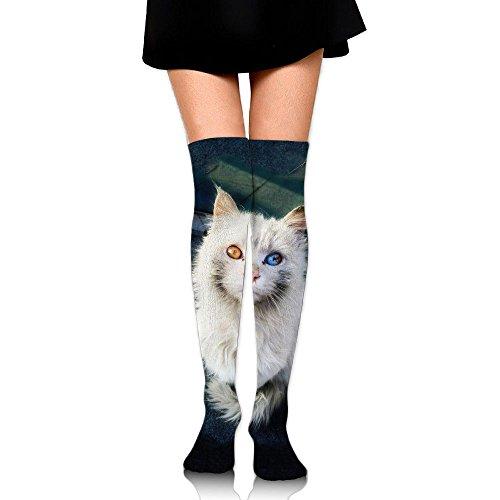 囚人考案する沼地白猫 ストッキング サイハイソックス 3D デザイン 女性男性 秋と冬 フリーサイズ 美脚 かわいいデザイン 靴下 足元パイル ハイソックス メンズ レディース ブラック