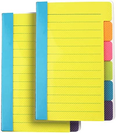 Office Supplies Sticky Notes Divider Sticky Notes Tabs ,Tabbed Self-Stick Lined Bright Colors Note Pad, School Supplies 4 x 6 Inches ,2 Pieces 120 Index Notes