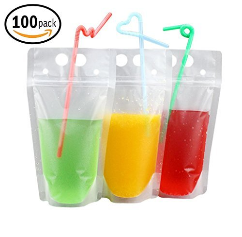 100 PCS Clear Drink Pouches Bags Heavy Duty Hand-held Translucent Reclosable Zipper Stand-up Plastic Pouches Bags Drinking Bags 2.4