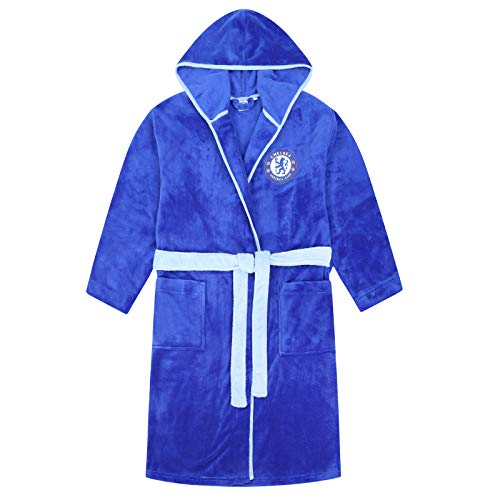Chelsea FC Official Soccer Gift Mens Hooded Fleece Dressing Gown Robe Large ()