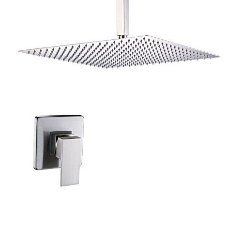 Rozin Ceiling Mounted 12-inch Rainfall Shower Head Single Lever Mixer Control Brushed Nickel
