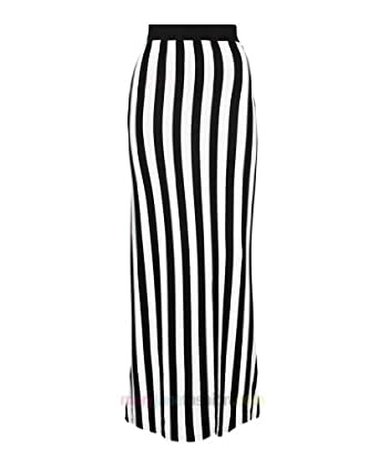 The black and white striped maxi skirts are on trend this season and women can wear them in many different ways such as; wearing them with denim jacket and white tank, wearing them with black top and denim vest, wearing them with denim shirt, wearing them with cropped blazer and simple top.