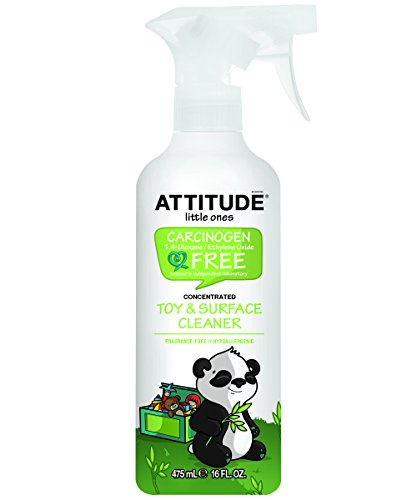 Natural Baby Toy Cleaner & Surface Cleaner: 100% Baby-Safe, Fragrance-Free and Hypoallergenic - No Rinse Required (16 oz) by Attitude