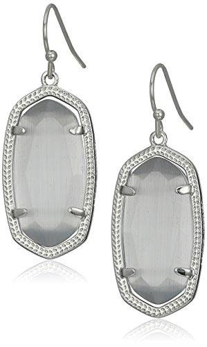 "Kendra Scott ""Signature"" Dani Rhodium plated Slate Glass Drop Earrings"