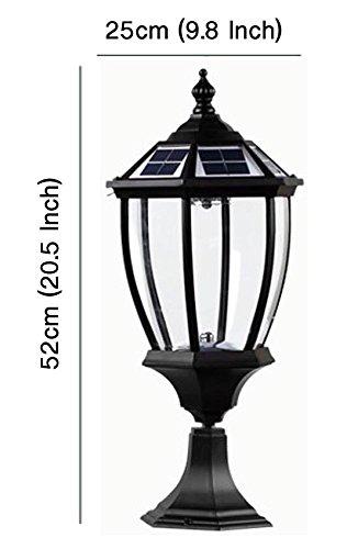 The Round Extra Large Solar Post Cap Lights or Solar Pillar, Diameter: 9.8 Inch; Height: 20.5 Inch. Solar Powered Post Caps. Elegantly Designed Solar Light Post Caps (New Metal Black) by Smart Light (Image #3)
