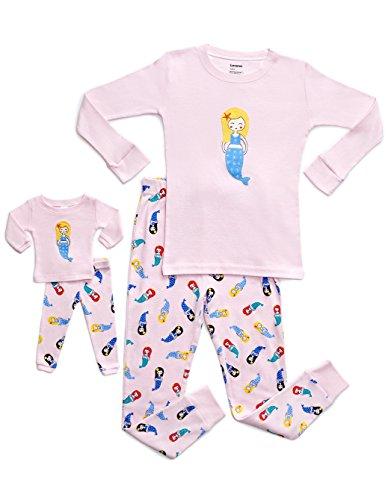 Little Bitty Baby Girl - Leveret Mermaid Matching Doll & Girl 2 Piece Pajama Set 100% Cotton 12 Years
