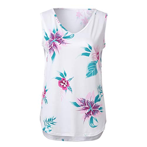 Zohto Summer Women Sleeveless V-Neck Floral Printed Vest Side Split Irregular Tops ()