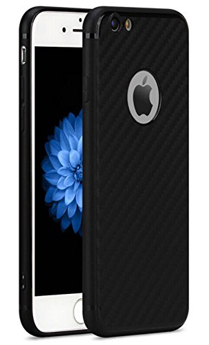 iPhone 6/6s Case, Fragrancy 0.6mm Ultra Thin Lightweight Carbon Fiber Pattern TPU Cover Shockproof Dustproof Shock Absorbing Bumper and Anti-Scratch Anti-Slip Case For Apple iPhone 6/6s-black