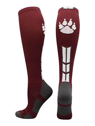 MadSportsStuff Wild Paw Over The Calf Socks (Maroon/White/Graphite, Large)