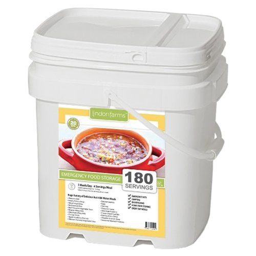 Lindon Farms 180 Serving Food Snack Meal Earthquake Evacuation Disaster Preparedness Longterm Food Storage Bucket by Lindon Farms