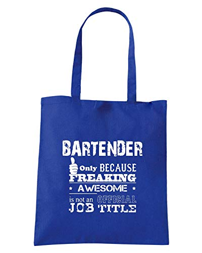 Borsa Shopper Royal Blu BEER0172 BARTENDER ONLY BECAUSE FREAKING AWESOME