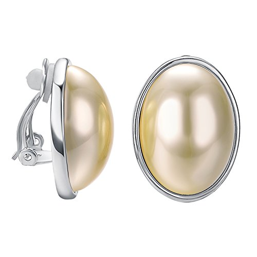 VOGEM Big Pearl Clip On Earrings 18K White Gold Plated Oval Halo Non Pierced Womens Clips Earrings Party Gifts
