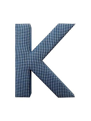 Letter K Fabric Wall Letter - Blue Gingham - LETTER K