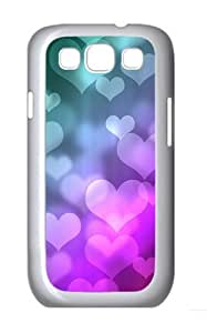 Colored Heart-shaped Background Image Custom Hard Back Case Samsung Galaxy S3 SIII I9300 Case Cover - Polycarbonate - White