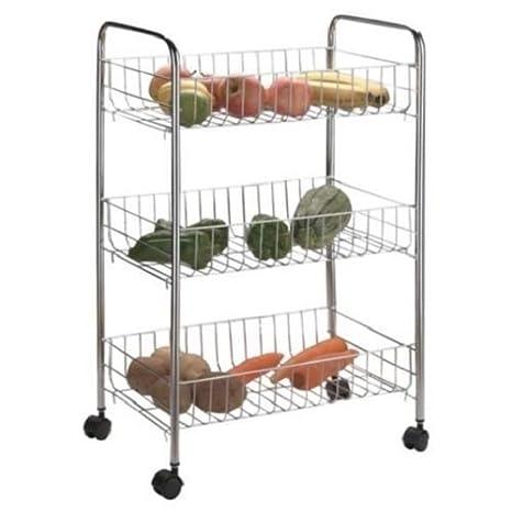 I and H Traders 3 Tier Cromo Frutas y Verduras Cocina Carrito de Almacenamiento con Estante Rack: Amazon.es: Hogar