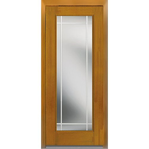 National Door Company Z007034L Fiberglass Mahogany, Fruitwood, Left Hand In-swing, Exterior Prehung Door, Internal Grilles Full Lite, 36''x80'' by National Door Company