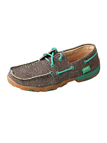 Twisted X Women's D Toe Driving Moccasins Canvas Casual Lace Boat Shoes - Dust