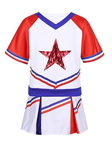 YiZYiF Little Girls' Youth Cheer Leader Uniform Outfit Short Sleeve Red Star School Cheerleading Camp Costume Cosplay White&Red 12-14