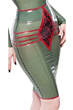 Elle Bordelle-L'Amour Pencil Skirt Semi-Transparent Green with Pearl Sheen Red Trim