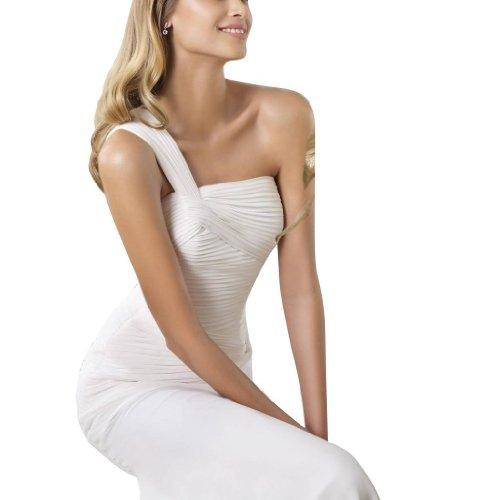 GEORGE Ein Hochzeitskleider elegante Weiß Chiffon Riemen Brautkleider BRIDE Einfache Hochzeitskleid Schulter arwnaxZfqO