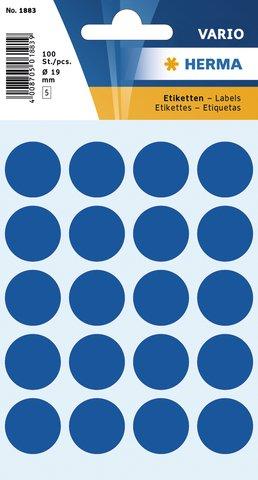 Vielzwecketiketten dunkelblau Ø 19 mm rund Papier matt 100 Stück
