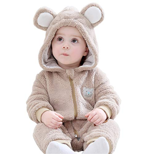 Bear Halloween Outfit (Kirmoo Unisex-Baby Flannel Romper Animal Onesie Pajamas Outfits Suit Bear)