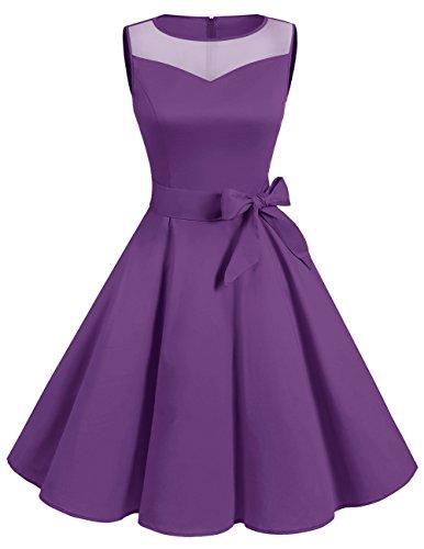 Dresstells reg; Vestido Mujer Corto Retro Vintage 1950 Sin Mangas Fiesta Boda Purple