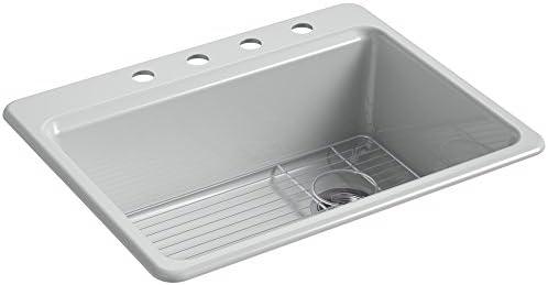 KOHLER K-8668-4A1-95 Riverby Kitchen Sink, 27 x 22 x 9-5 8 , Ice Grey