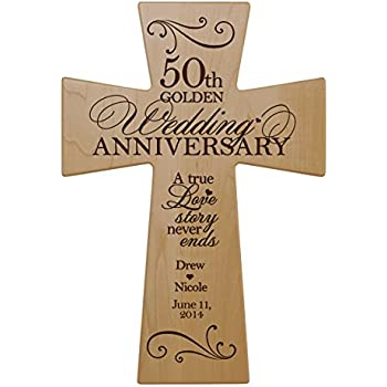 personalized 50th wedding anniversary maple wood wall cross gift for couple 50 year anniversary gifts for her fiftieth wedding anniversary gifts for him