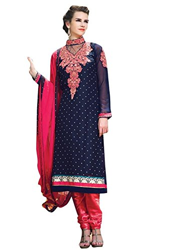 Vibes Women's Georgette Patch Work Anarkali Dress Material – Free Size, Blue