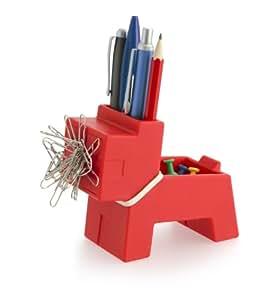 j-me - Organizador de escritorio (diseño original), diseño de perro, color rojo