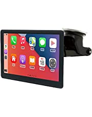 Wireless Dashboard Console with Apple Carplay and Android Auto, 7 Inch IPS Touchscreen Multimedia Player with Bluetooth, Mirror Link, SiriusXM, Google, and Siri Assistant. Dash or Windshield Mounted
