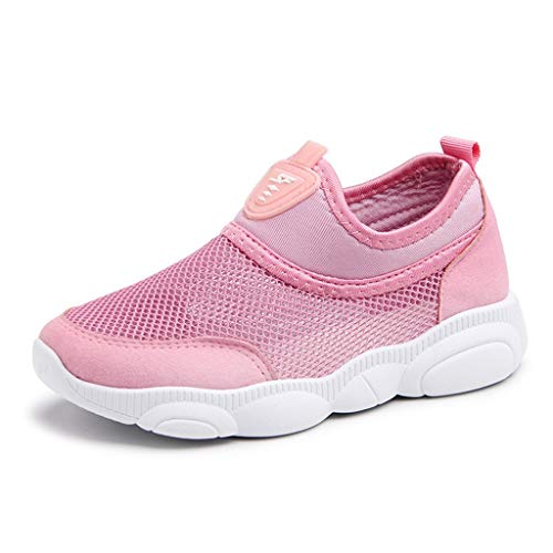 Respctful✿Baby Mesh Shoes Unisex Lightweight Breathable Sneakers Strap Athletic Running Shoes Causal Hook & Loop Pink