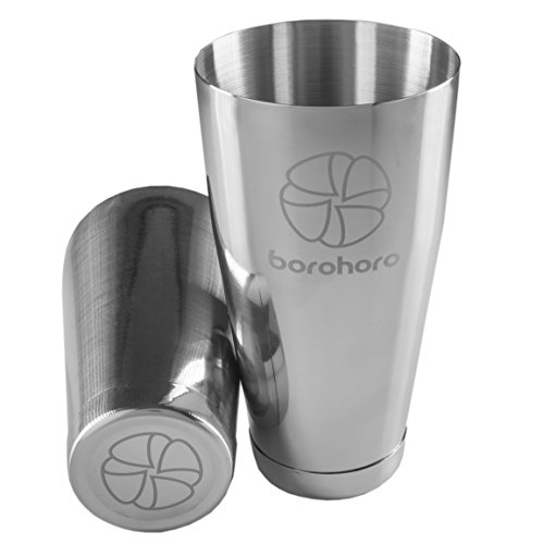 BOROHORO - Stainless Steel Boston Cocktail Shaker - 2 Piece Bar Tool Set - 27 & 18 oz, Weighted Cups - Perfect Gift for Mixing a Drink Like Martini, Margarita, Mojito as a Professional Bartender (Shaker Cocktail Fancy)