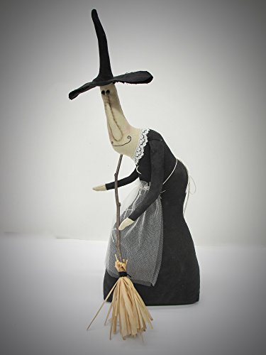 Primitive Halloween Witch Doll with Broom -