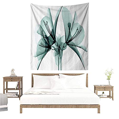 Wall Tapestries Hippie,Xray Flower Decor Collection,Illustration of a Blooming Transparent Flower X ray Vision of Nature Solarized Print,T W70 x L93 inch Tapestry Wallpaper Home Decor