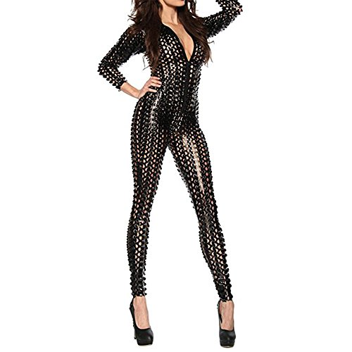 LHS Charmer Women Sexy Lingerie Faux Leather Hollow Club Lingerie Jumpsuit Clothing Bodysuit Adult Latex PVC Catsuit Zipper (M, Black) (Black Latex Womens)