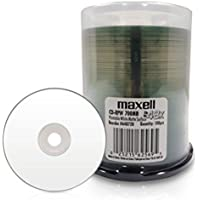 Maxell 648720 Premium Quality Recording Surface 48x Write Speed 700Mb Printable White Matte Disc 100 Pack with