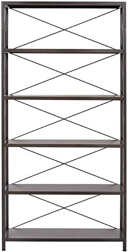 Home Decorators Collection Ryan Metal Bookcase, 5 Shelf, Burnished Black